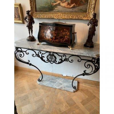 Console d'époque Louis XV En Fer Forgé
