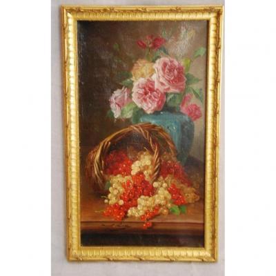 Nature Morte Aux Raisins Et Aux Fleurs Signée Brunel De Neuville