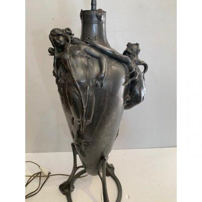 Art Nouveau Pewter Lamp