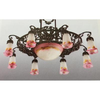 Chandelier With 8 Tulips Signed Muller