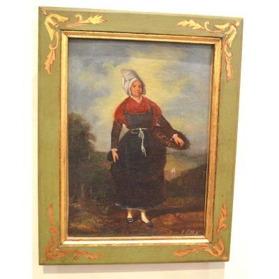 Pair Of Paintings Representing Bretons