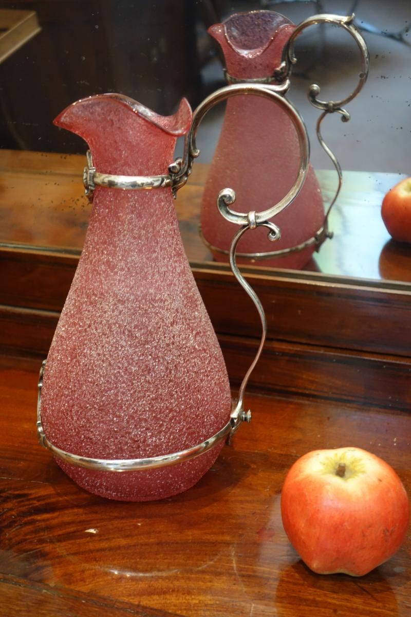Pink Frosted Crystal Ewer