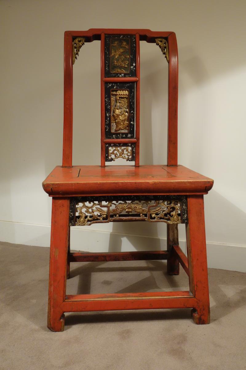 Chaise De Mandarin En Bois Laqué
