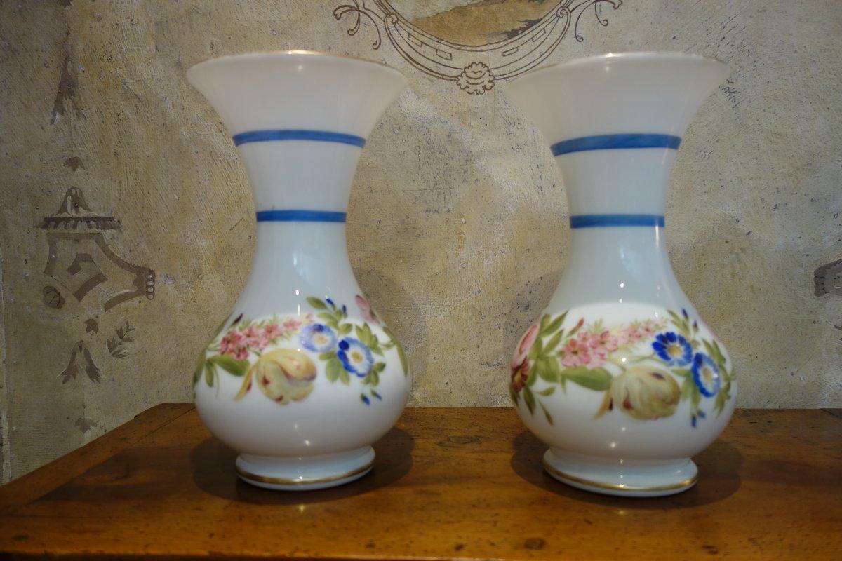 Pair Of Vases Opaline Nineteenth