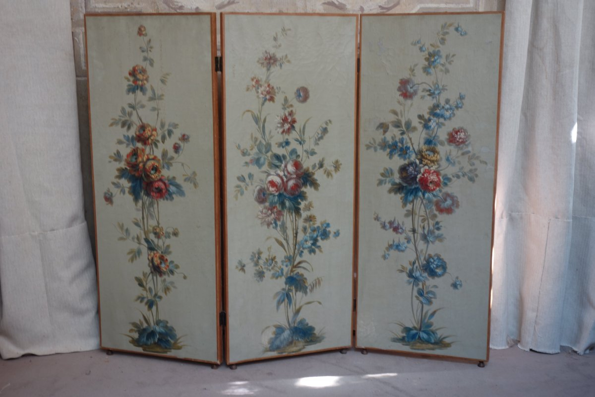 Small Screen In Painted Canvas From The Nineteenth