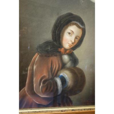Portrait  De Jeune Femme Au Manchon, Pastel