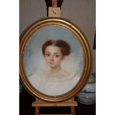 Portrait De Jeune Fille, Pastel XIXème