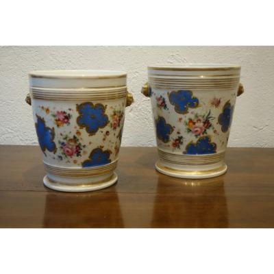Pair Of Great Cache Pots In Old Paris Of The Nineteenth Century