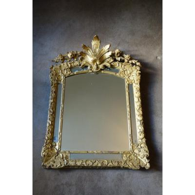 Large Louis XIV Mirror With Pareclose In Golden Wood XVIIth