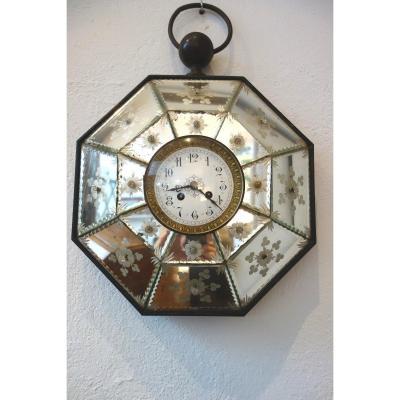 Pendule Octogonale En Miroirs Gravés XIXème