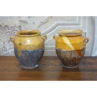 Two Grease Pots In Glazed Terracotta From The XIXth Century