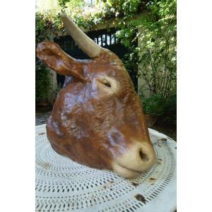Enseigne, Tête De Vache En Céramique