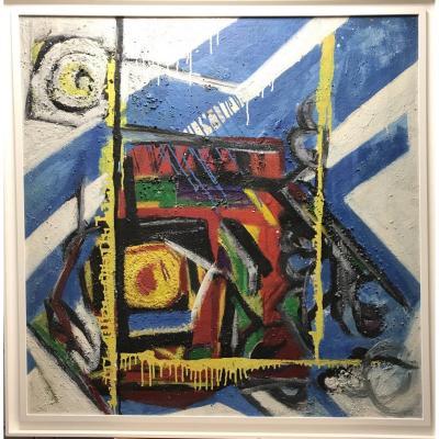 Huile Sur Carton  «composition Abstraite» Par Dagfinn Dahl (1928-1992). Circa 1960-65.