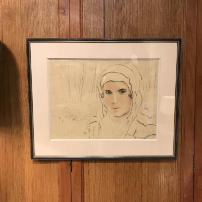 François De Herain, Dessin Orientaliste «portrait D'un Jeune Marocain» 1932