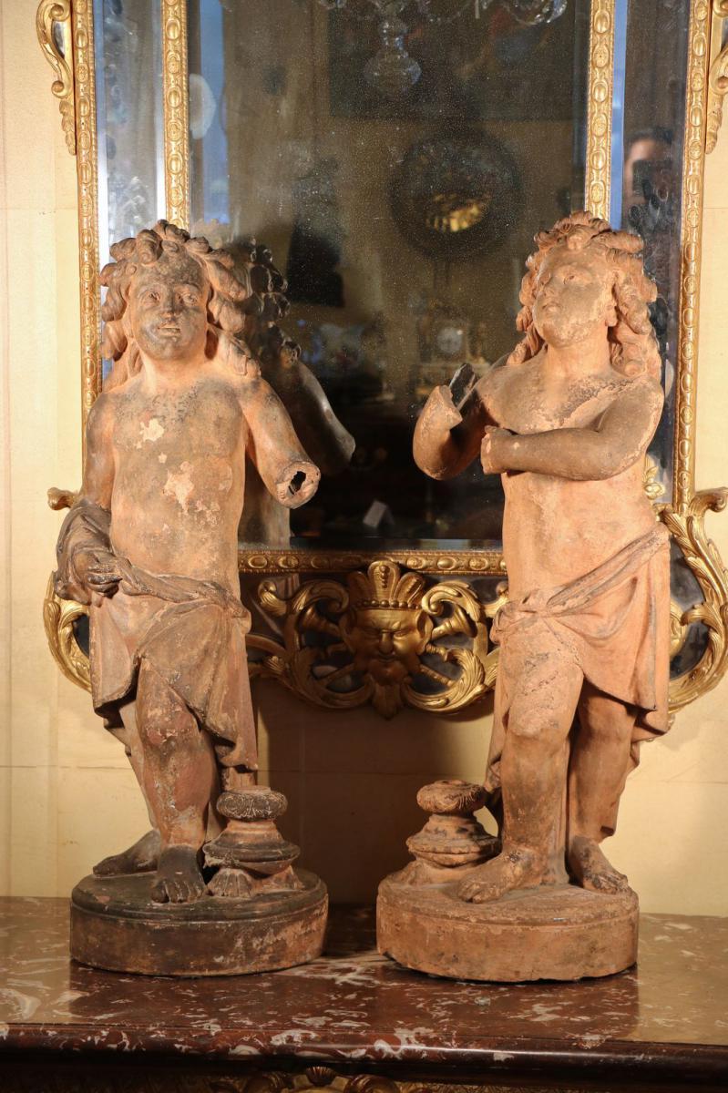 Paire De Putti, Terre Cuite, XVIIe Siècle, Florence.