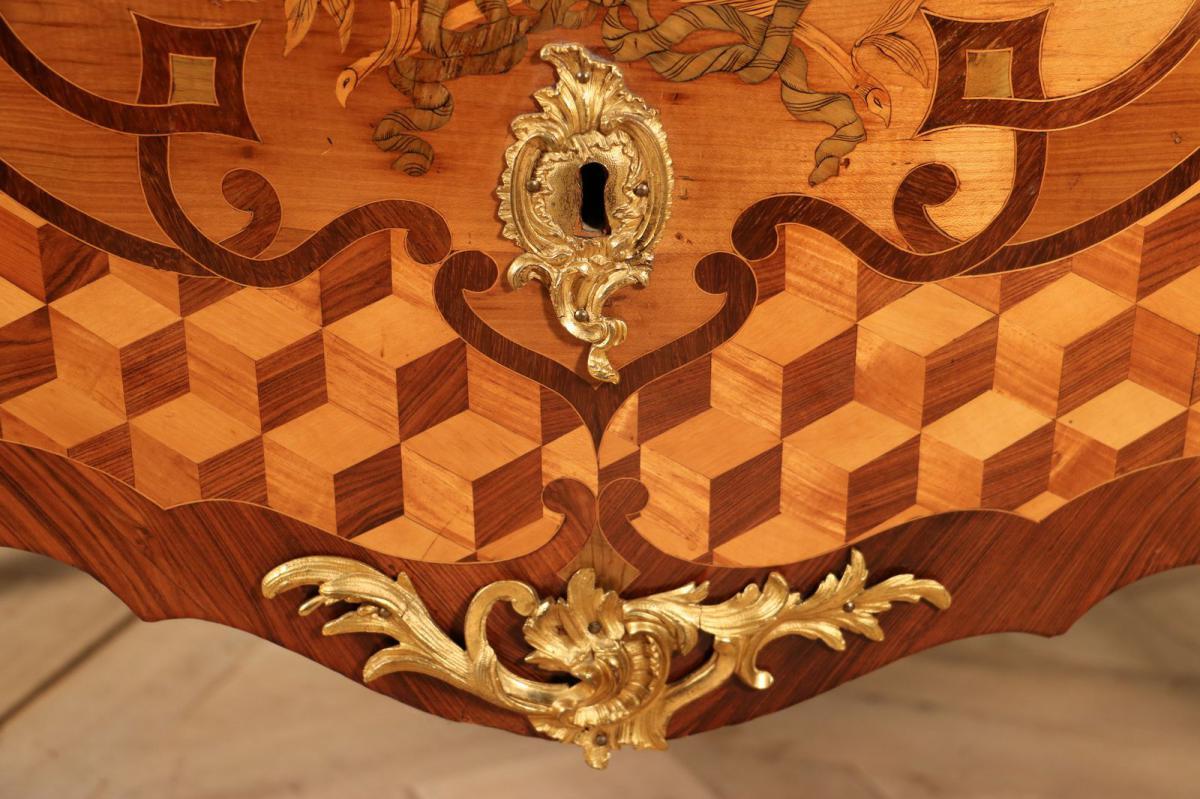 Commode Galbée, époque Louis XV, Marqueterie, Bronze Doré, Est De La France.-photo-2