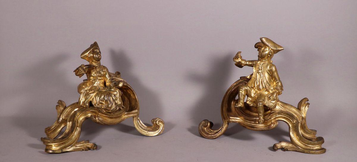 Paire De Chenets Aux Chérubins, époque Louis XV