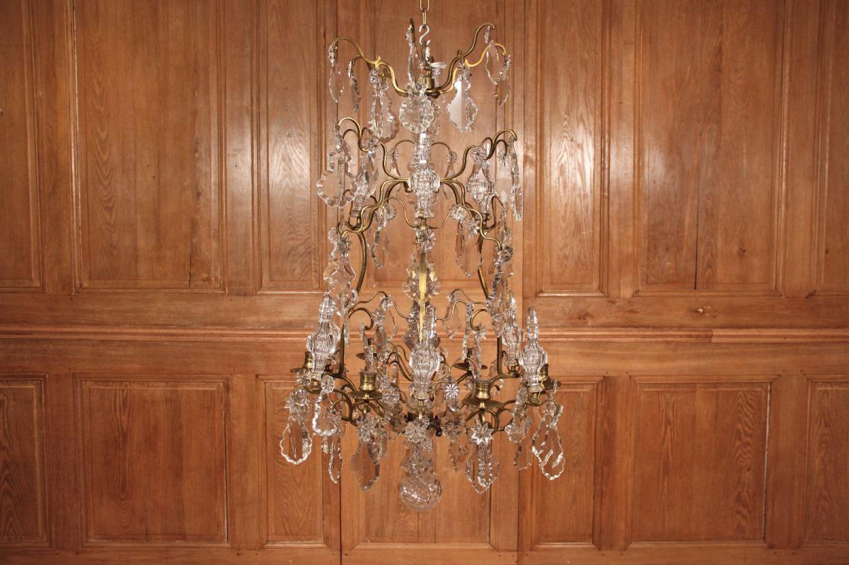 Lustre Cage d'époque Louis XV, Cristal Et Bronze Doré