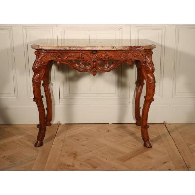 Table-console, époque Régence, Chêne, Marbre Sarrancolin.