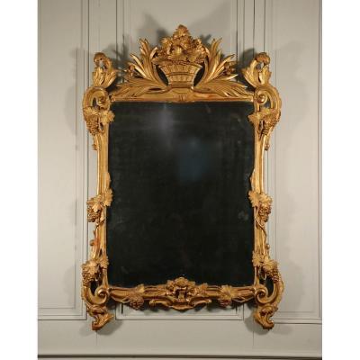 Miroir, époque Louis XV, Bois Sculpté Et Doré, Provence.