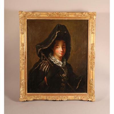 Portrait De Charlotte Desmares En Pèlerine, Suiveur De J.-b. Santerre, Début XVIIIe Siècle