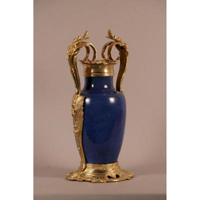 Vase, Porcelaine De Chine, Monture Similor, époque Louis XV