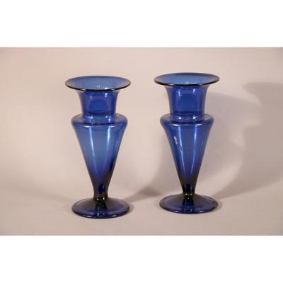 Paire De Vases En Verre Bleu De Bordeaux, Fin XVIIIe