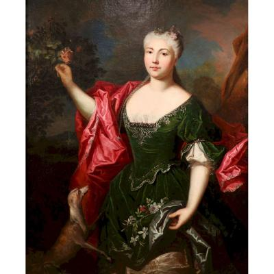 Portrait d'Une élégante Au Lévrier, Attribué à Delyen