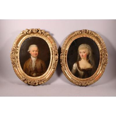 Pair Of Portraits On Copper, Louis XV