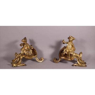 Pair Of Chenets Cherubins, Louis XV