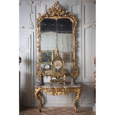 Louis XV Console In Golden Wood