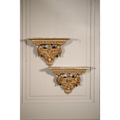 Charming Pair Of Wall Sconces Consoles Carved Wood