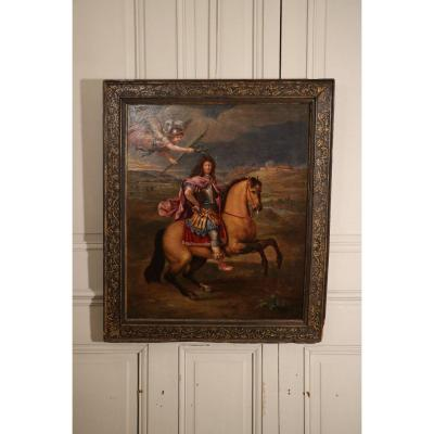 Equestrian Portrait Of Louis XIV Crowned By Fame During The Northern Campaign In Namur