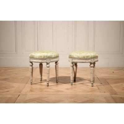 Pair Of Circular Lacquered Stools Stamped Adrien Dupain