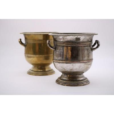 Pair Of Silver Metal Bucket Shaped Coolers