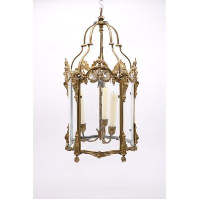 Glass And Gilt Bronze Alcove Lantern