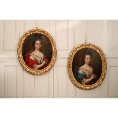 A Set Of Two Portraits Representing Two Elegant Young Women