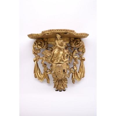 Exceptional Gilt Wood Wall Console Representing The Allegory Of The Navy