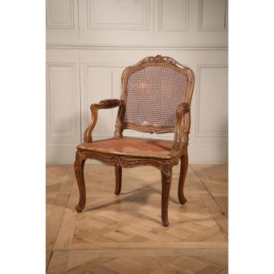 Caned And Molded Queen Armchair In Painted Natural Wood