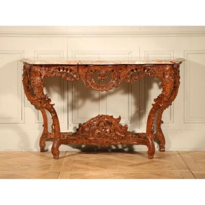 Exceptional Richly Carved Oak Wood Console
