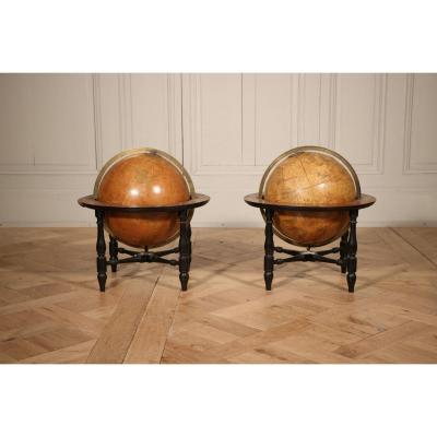 Pair Of Terrestrial And Celestial Globes 19th Century
