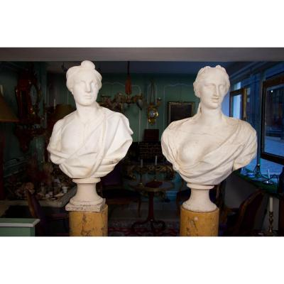 Pair Of Busts In Cararre Marble