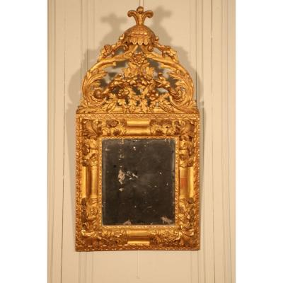 Mirror In Golden Wood Carved With Flowers