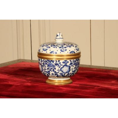 Covered Pot In Blue And White Porcelain Mounted From The Regency Period