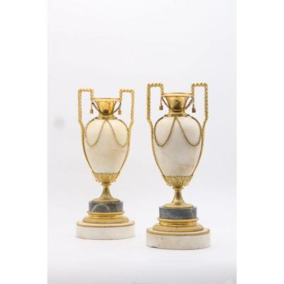 A Pair Of Carrara Marble Urns Mounted In Candlesticks