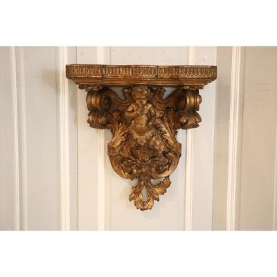 Wall Console In Golden Wood Representing A Putto