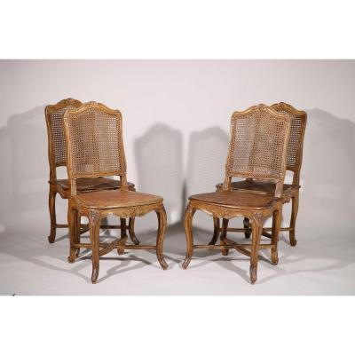 Set Of Four Painted Wooden Chairs Stamped T Marion