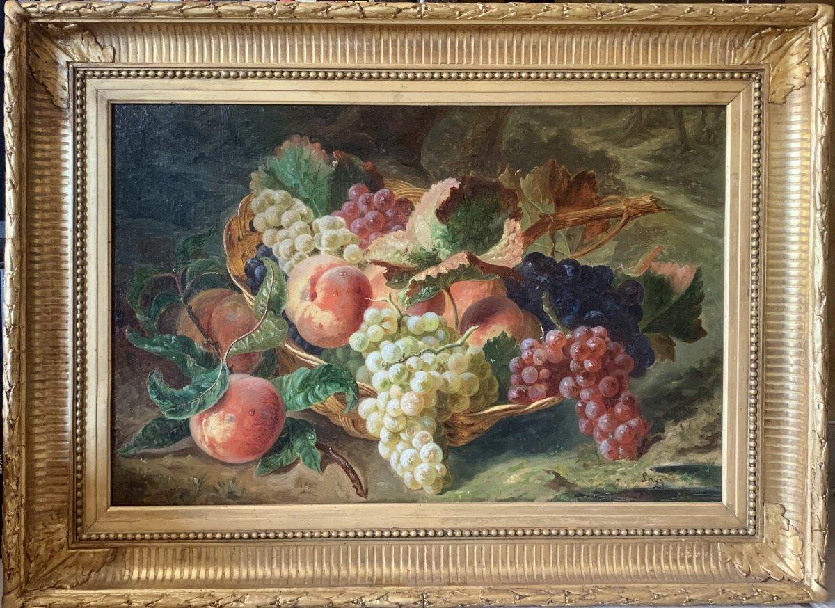 LAŸS SAINT-BARTHÉLÉMY-LESTRA Jean-Pierre (1825-1887) Corbeille De Fruits