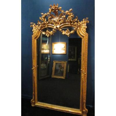 Miroir, putti et faunes, XIXème siècle