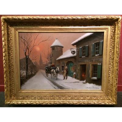 LEVIGNE Théodore (1848-1912) - Village sous la neige